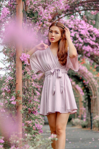 LAUREN KIMONO SASH DRESS #MADEBYLOVET (DUSTY PINK)