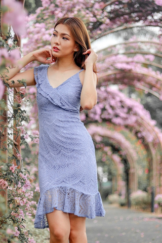 LEIA INTRICATE LACE RUFFLES DRESS (LILAC)