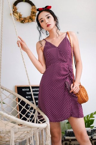 LISA POLKA DOT RUFFLES SPAG DRESS (MAGENTA)