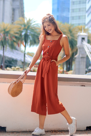 LONDON BUTTON DOWN JUMPSUIT WITH SASH #MADEBYLOVET (CARAMEL)