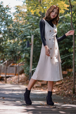 MATILDA LINEN TRENCHCOAT BUTTON DRESS #MADEBYLOVET (SAND)