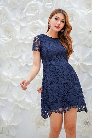 MAYA SLEEVE INTRICATE CROTCHET DRESS (NAVY)