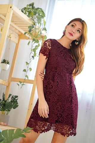 MAYA SLEEVE INTRICATE CROTCHET DRESS (MAROON)
