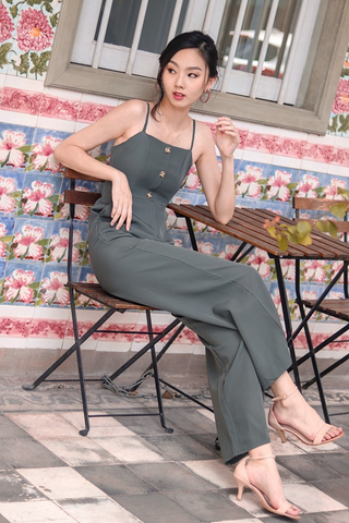 MITCHELL BUTTON DOWN JUMPSUIT WITH BELT (OLIVE)