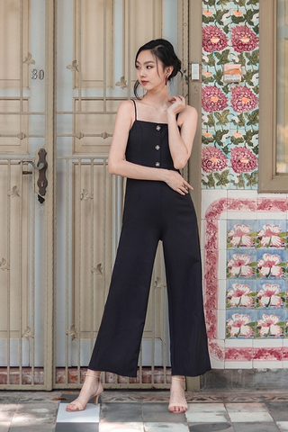 MITCHELL BUTTON DOWN JUMPSUIT WITH BELT (BLACK)