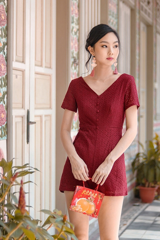 NAOMI EYELET BUTTON ROMPER (WINE)
