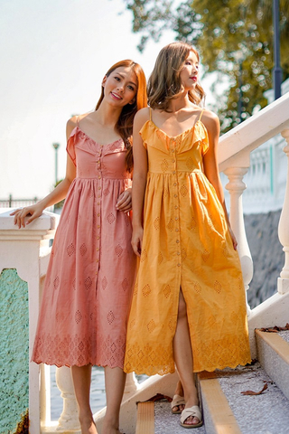 SANNA EYELET BUTTON MAXI DRESS (MUSTARD)