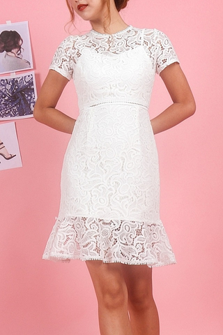 SIERRA INTRICATE EYELET LACE DRESS (WHITE)