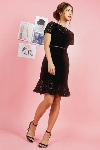 SIERRA INTRICATE EYELET LACE DRESS (BLACK)