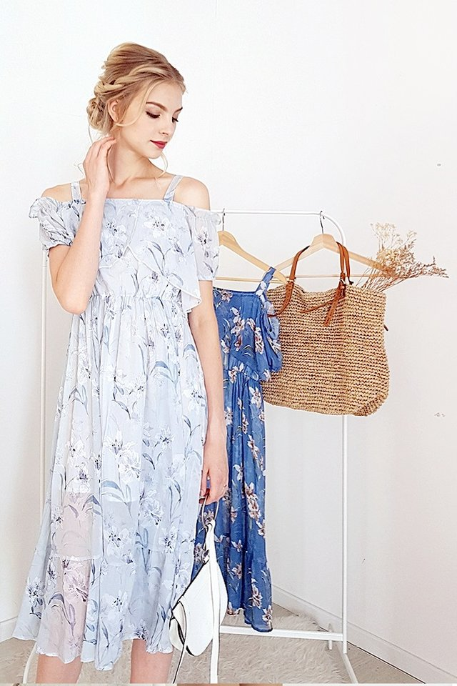 AURORA DROP-SHOULDER ETHEREAL FLORAL DRESS (BLUE GREY)