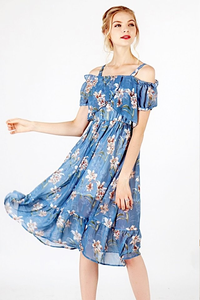 AURORA DROP-SHOULDER ETHEREAL FLORAL DRESS (BLUE)