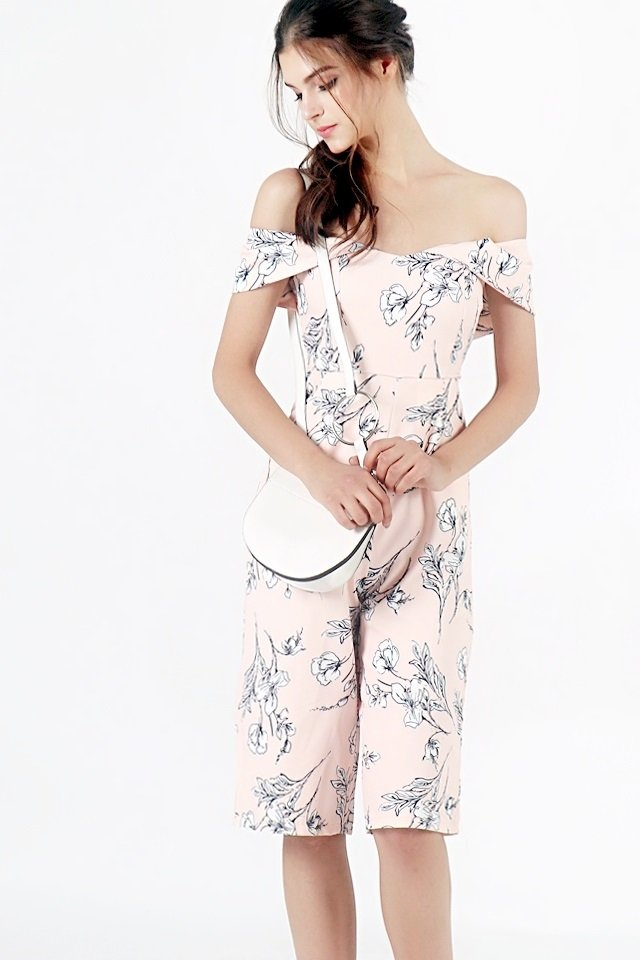 MARISSA FLORAL OFF-SHOULDER CULOTTE JUMPSUIT (BLUSH)