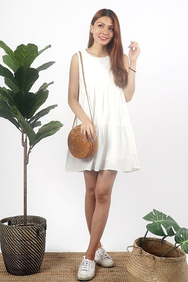 FREYA BABYDOLL TIER DRESS #MADEBYLOVET (WHITE)