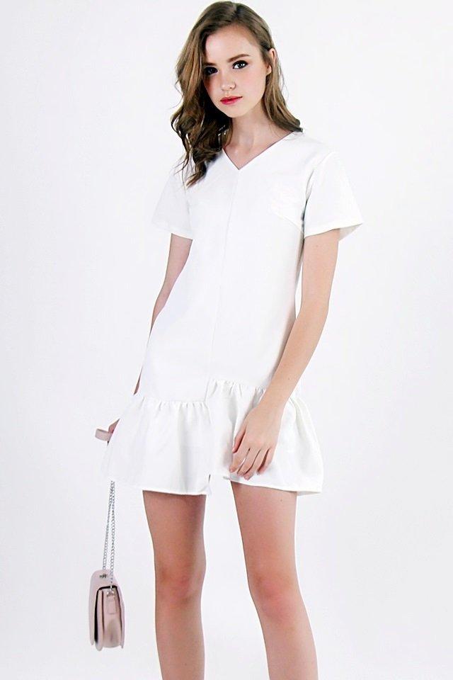 FREDA ASYMMETRICAL FLARE DRESS (WHITE)