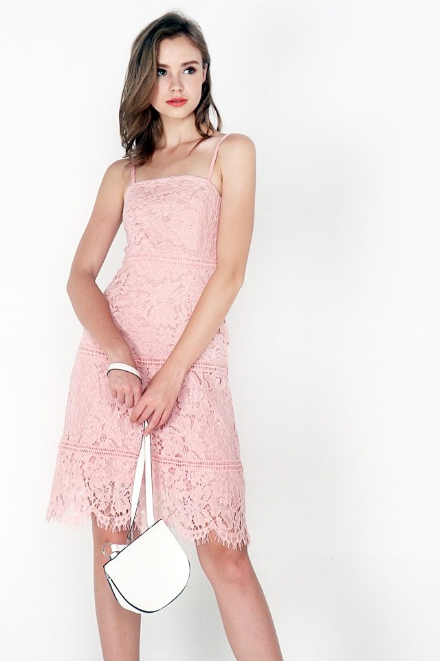 CASEY A-LINE EYELET LACE DRESS (BLUSH PINK)