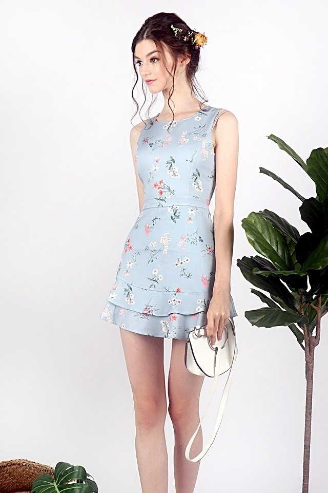 DANDELION FLORAL ROMPER DRESS (DUSTY BLUE)