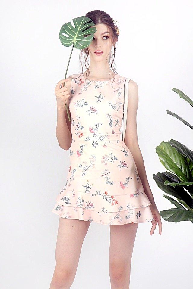 DANDELION FLORAL ROMPER DRESS (BLUSH PINK)