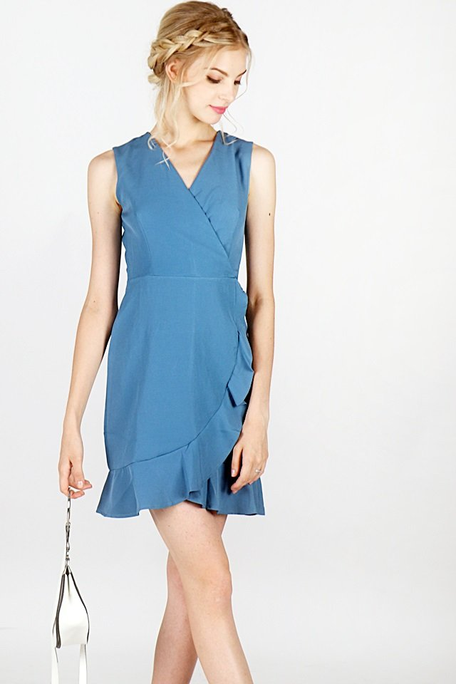 SKYLER RUFFLES V-NECK DRESS (TEAL BLUE)