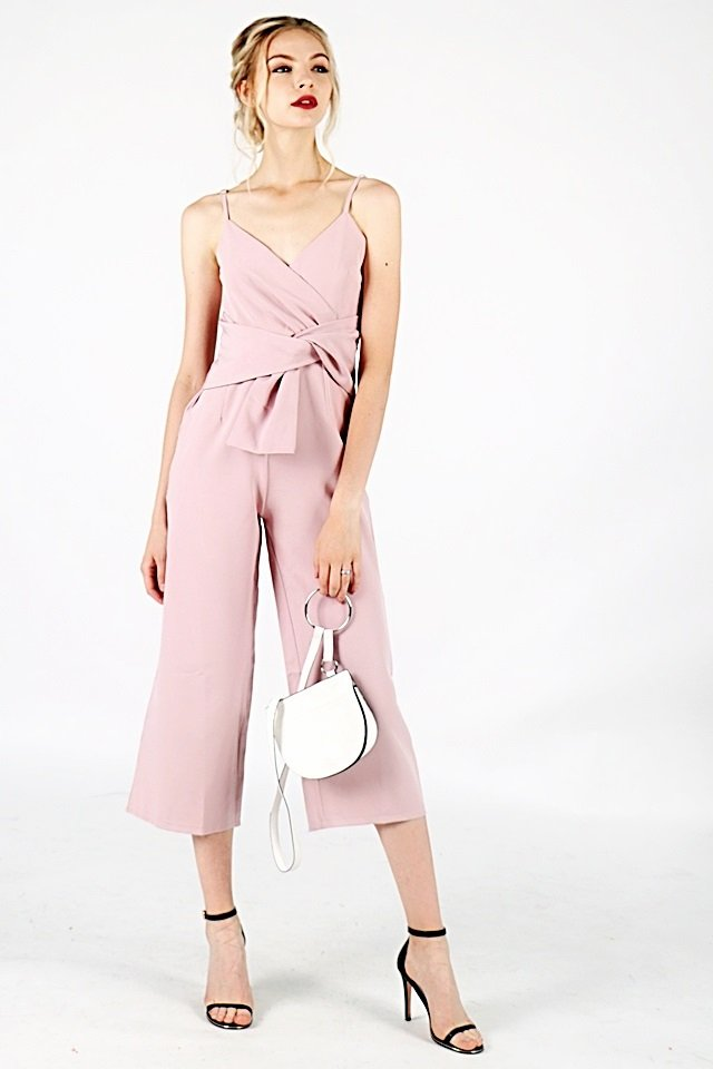 GENESIS WAISTED SASH JUMPSUIT (DUSTY PINK)
