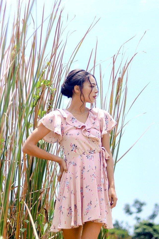SOPHIE FLORAL RUFFLES TIE-STRING DRESS #MADEBYLOVET (DUSTY PINK)