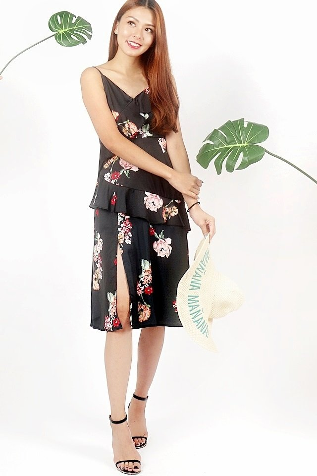 DANYA FLORAL RUFFLES SLIT DRESS (BLACK)