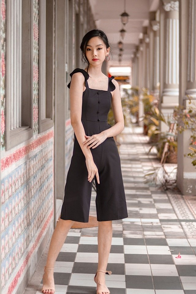ALEXIS RUFFLES BUTTON JUMPSUIT (BLACK)