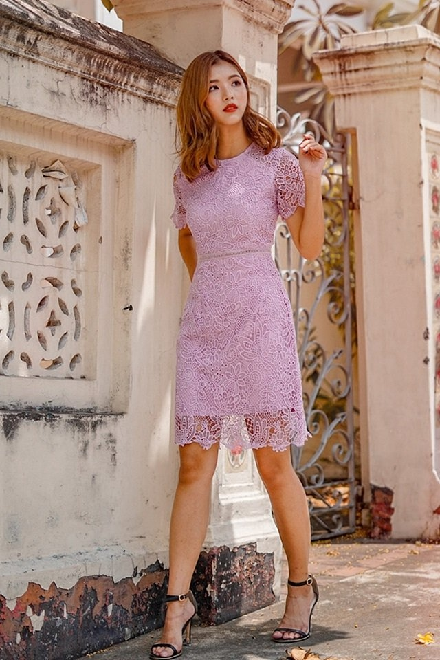 DAWN SLEEVE INTRICATE CROTCHET DRESS (LILAC)