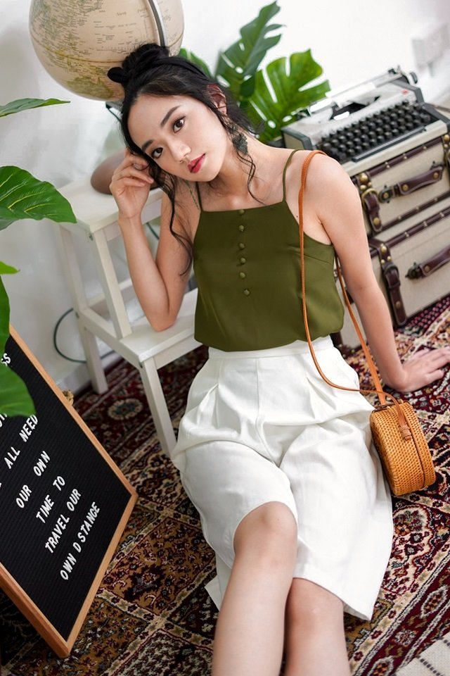 LEVANA BUTTON CAMI TOP #MADEBYLOVET (OLIVE)
